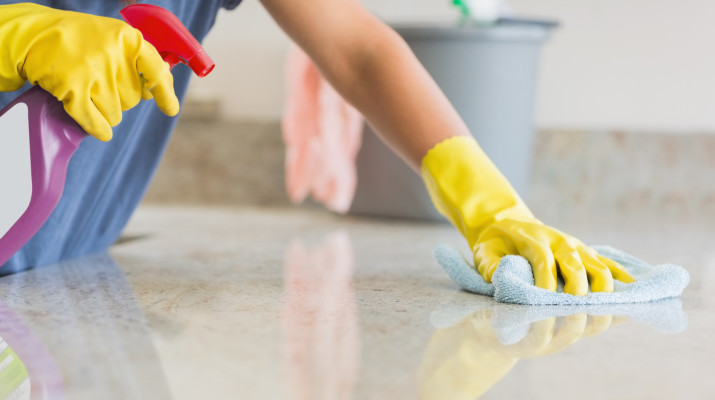 Kitchen counter being cleaned